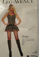NEW 3 Pc Army Dress Belt Hat Fishnet Stocking Costume Halloween Adult Sexy Large