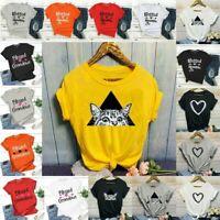 Plus Womens Summer Short Sleeve T Shirt Blouse Ladies Print Basic Tee Tops UK