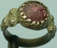 Ornate Medieval Silver Ring W/ Stone