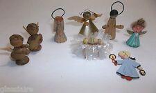 Vintage Miniature NATIVITY Pieces Wood PAPER Germany AUSTRIA Lot Of 8