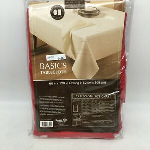 """Benson Mills Basics Tablecloth Ruby Solid Red Polyester 60x120"""" in Oblong"""