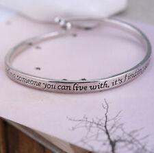 Punk Letter Engraved Love Couple Bracelet Charm Bangle Cuff Women Men Jewelry