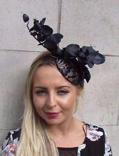 Black Beige Orchid Flower Fascinator Hat Ascot Headband Races Pillbox Vtg 3099