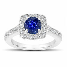 Platinum 1.28 Carat Blue Sapphire Engagement Ring, With Diamonds Wedding Ring