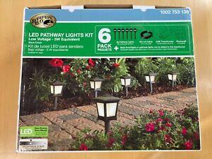 Hampton Bay Wired LED Pathway Landscape Lights Kit, 6 Pack Low Voltage,HD33678BK