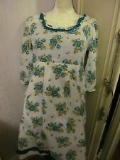 white green floral half sleeve cotton tunic dress size 12