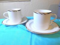 Mikasa Fine China Omega  L 2058 Coffee/Tea Cups/Mugs and Saucers Set of 2