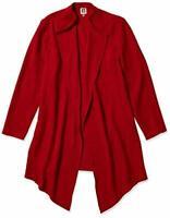 MSRP $139 Anne Klein Women's Drape Front Long Jacket, Titian RED Size Large