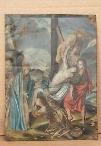 Dipinto religioso - olio su rame - del '500 -'600 - La deposizione di Cristo