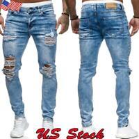 US Men Stretch Ripped Skinny Jeans Distressed Frayed Slim Fit Biker Denim Pants