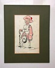 Scotsman in Kilt Vintage Cartoon Caricature Signed Original Watercolour Painting
