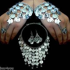 Bauchtanz Schmuckset Kette Halskette Ohrringe Münzen Sklavenarmband Armband Ring