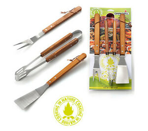 Set per barbecue 3 pezzi pinza paletta forchettone inox OMPAGRILL art. 03430