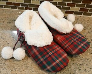 New Pottery Barn LYNBROOK PLAID BOOTIES Christmas Holiday Slippers  - XL (11-12)