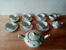 Mitterteich Bavaria servizio tè tea the porcellana oro x6 teiera lattiera