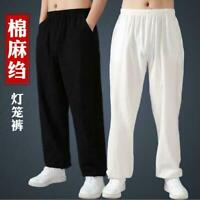 Mens Casual Kung Fu Cotton Linen Chinese Style Loose Tai Chi Pants Trouser Hot