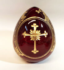 Collectible Genuine Russian Glass Red Egg Authentic Russian Floral Cross Designs