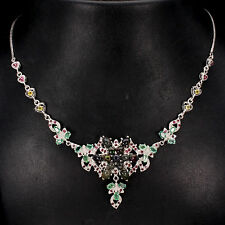 REAL BLACK OPAL,EMERALD,RUBY,SAPPHIRE STERLING 925SILVER HEART LINK BIB NECKLACE