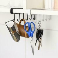 6 Hooks Cup Holder Hanging Kitchen Cabinet Door Shelf Home Storage Rack S1I5