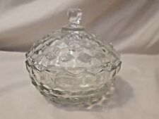 Fostoria American Block Covered Candy Dish w Lid Vintage Elegant Glass