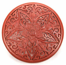 Antique Chinese Carved Cinnabar Laquer Round Scholar's Box Qing Republic Period