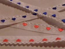 Posamentenborte Borte Band Herzen blau Herz hochwertig gewebt Meterware 15mm br.