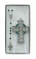 Boys Girls Pewter Irish Celtic Crib Cross Rosary Set Baptism Christening Nursery