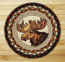 "MOOSE PORTRAIT 100% Natural Braided Jute Swatch, 10"" Trivet/Placemat, Earth Rugs"