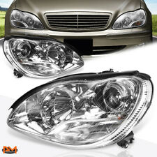For 00-06 Mercedes S-Class W220 Projector Headlight Chrome Housing Clear Corner