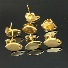 10pcs/lot Gold Color oval Shape Stainless Steel Earring Studs W/ Stoppers 10mm