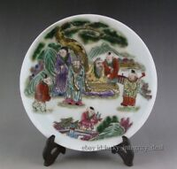 Antique Chinese Old Porcelain Qing Famille Rose Character Story Plate Mark