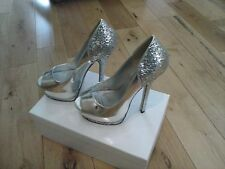 A Platform peep toe high heel Silver,Glitter,Metallic evening shoes By Paradox