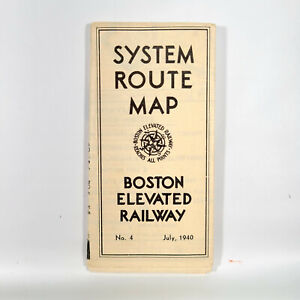 1940 Boston Elevated Railway System Route Map Brochure Vintage Travel Railroad