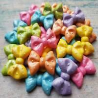 25 edible sugar fondant bows multicolored cake cupcake topper decorations