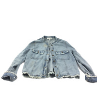 Honey Punch Style Rips Button Closure Light Blue Wash Jean Jacket Size L