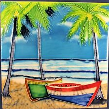 Row Boat on the Beach decorative hand painted ceramic tile home decor