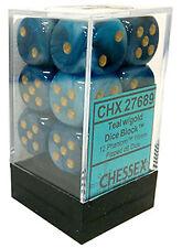 Chessex Dice d6 Set 16mm Phantom Teal w/ Gold Pips 6 Sided Die 12 CHX 27689