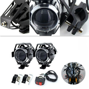 2x Motorcycle White Headlight Auxiliary Lamp LED Armor Spot Light Head & Button