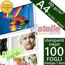 100 FOGLI CARTA FOTOGRAFICA A4 PREMIUM FOTO GLOSSY LUCIDA 180 GR. STAMPA INKJET