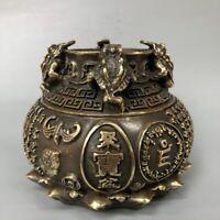 Fengshui China old copper bronze Golden Toad Spittor Statue Wealth Pot Jar Crock