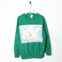 Vintage Novelty Graphic Polar Bears Big Logo Sweatshirt Jumper Green   Large L