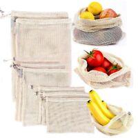 Reusable Cotton Pouch Shopping Washable Fruit Vegetable Storage Mesh Zero Waste