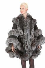 Women's Plus Size Black Cashmere Cape with Silver Fox Fur - Empress Style