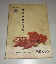 Teilekatalog / Ersatzteilliste Massey - Ferguson Mähdrescher MD 685 - 58/59