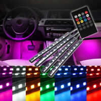4x 9 LED Car Light Interior Atmosphere SUV Floor Strip Lamp Remote Music