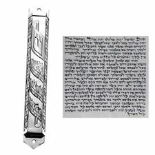 Pewter Mezuzah Case With Kosher Scroll Jewish Judaica Mzuza Mezuzut Mazuza Metal