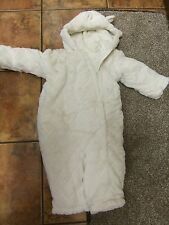 Lovely cream furry diamond pattern footless snowsuit.to fit 18-24mth.new.