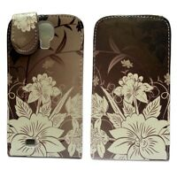 BROWN CASE WITH WHITE FLORAL PRINT FLIP LEATHER CASE FOR SAMSUNG GALAXY S4 I9500