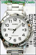 MTP-1215A-7B2 White Casio Men's Watch Stainless Steel Analog Water Resistant New
