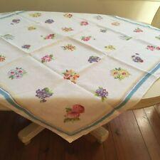 Vintage Linen Tablecloth/6 Napkins Pride of Flanders Nosegay Floral Mid Century